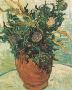 Vincent Van Gogh Still life:Vase with Flower and Thistles (nn04) china oil painting reproduction